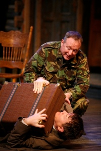 "Brent Langdon comforts a shy John Scherer during the Rep's production of ""The Foreigner."" Photo courtesy of the Repertory Theatre of St. Louis."