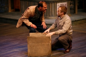 "Jay Smith as Owen Musser devises the ""perfect"" plan with Matthew Carlson as the Reverend David Marshall Lee in the Rep's production of ""The Foreigner."" Photo courtesy of the Repertory Theatre of St. Louis."