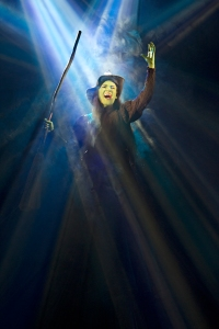 "Christine Dwyer, as Elphaba, belts out the dynamic ""Defying Gravity"" during ""Wicked"" at the Fox Theatre. Photo: Joan Marcus"