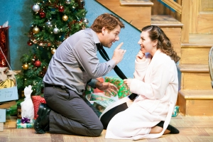 "Stephen Peirick as Clive and Emily Baker as Belinda get set for a special holiday present during STLAS' production of Alan Ayckbourn's ""Season's Greetings."" Photo: John Lamb."