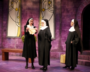"Alyssa Ward, Lavonne Byers and Kirsten Wylder discuss the merit of ""holy"" stained underwear in HotCity's production of ""The Divine Sister."" Photo: Todd Studios."