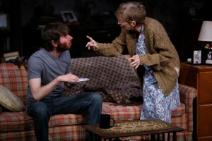 "Rita Gardner, as Grandma, scolds her grandson Leo- played by Dan McCabe in the Rep Studio production of ""4000 Miles."" Photo courtesy of the Repertory Theatre of St. Louis."