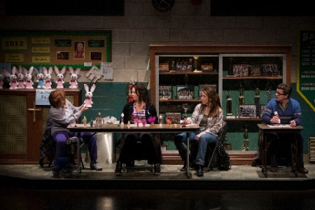 "Andrea Gallo, Elizabeth Ann Townsend and Denise Cormier plan strategy at Bingo Night in the Rep's ""Good People."" Photo courtesy of the Repertory Theatre of St. Louis"
