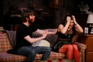 "Dan McCabe (as Leo) tries to calm down Lisa Helmi Johanson (Amanda) in ""4000 Miles"" at the Rep Studio. Photo courtesy of the Repertory Theatre of St. Louis."