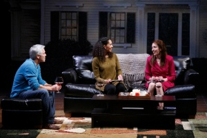 "R. Ward Duffy tries to remain calm as his wife, Zoey Martinson discusses his youth in Southie with Denise Cormier in the Rep's ""Good People."" Photo courtesy of the Repertory Theatre of St. Louis"