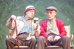 """Bobby Miller and Richard Lewis wax philosophical about ducks during David Mamet's """"The Duck Variations"""" at Mustard Seed Theatre. Photo: John Lamb"""