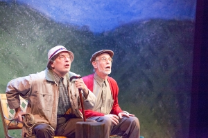 "A flight of ducks excites Bobby Miller and Richard Lewis in ""The Duck Variations"" at Mustard Seed Theatre. Photo: John Lamb"