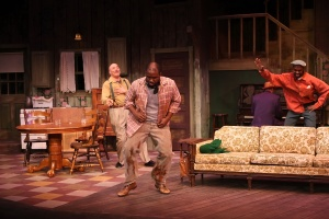 """Bob Mitchell, Ronal L. Conner, Ethan H. Jones and Chauncy Thomas break into an impromptu number in the Black Rep's """"The Piano Lesson."""" Photo: Stewart Goldstein"""