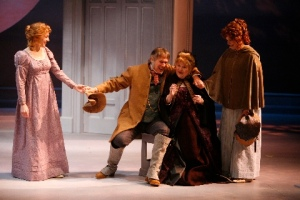 "Elinor, Sir John, Mrs. Dashwood and Marianne contemplate their move to the ""country"" in the Rep's production of ""Sense and Sensibility."" Photo courtesy of the Repertory Theatre of St. Louis"