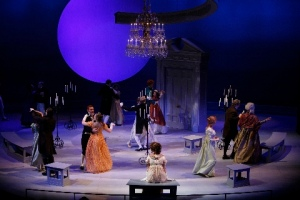"The cast of ""Sense and Sensibility"" on the beautiful open-air set. Photo courtesy of the Repertory Theatre of St. Louis"