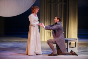 "Elinor eagerly receives the proposal of Edward in Jane Austen's ""Sense and Sensibility."" Photo courtesy of the Repertory Theatre of St. Louis"