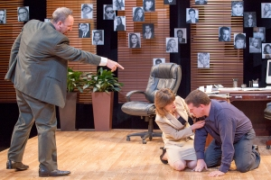 """Michael James Reed as Charlie confronts Karen (Sigrid Sutter) and Bobby (Christopher Hickey) in Mamet's """"Speed-the-Plow"""" at New Jewish Theatre. Photo: John Lamb"""