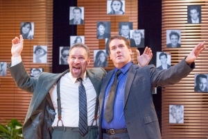 "Charlie Fox (Michael James Reed) and Bobby Gould (Christopher Hickey) celebrate their good fortune in NJT's ""Speed-the-Plow."" Photo:"