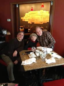 Dick Wobbe and yours truly flanking the great Rita Gardner during our all-too brief lunch.