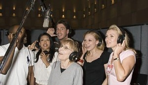 "Rita and cast at the recording session for ""The Wedding Singer."""