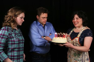 "Mary Beth Black, Jeffrey M. Wright and Kimi Short celebrate an uneasy birthday in New Line's ""Next To Normal."" Photo: Jill Ritter Lindberg"