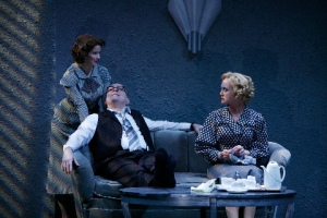 "Joy Farmer-Clary, Kevin Cutts and Gardner Reed have an uneasy family meeting in the Rep's ""Double Indemnity."" Photo courtesy of the Repertory Theatre of St. Louis"