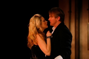 "Sarah Nedwek as Vanda and Jay Stratton as Thomas during an intense ""audition."" Photo courtesy of the Repertory Theatre of St. Louis"