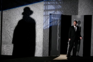 "Intense lighting (including footlights) enhance the noir feel of ""Double Indemnity"" at the Rep. Photo courtesy of the Repertory Theatre of St. Louis"