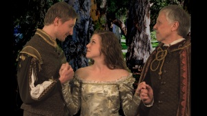 "Aaron Dodd, Betsy Bowman and Maggie Murphy in St. Louis Shakespeare's ""As You Like It."""