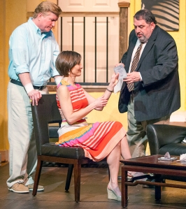 """Steve Isom, Tamara Kenny and Jason Grubbe discus """"the dog"""" and other problems in STLAS' production of """"Day Of The Dog."""" Photo: John Lamb"""