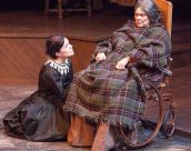 """Sarah Cannon as Jane and Donna Weinsting as her cruel, dying aunt in """"Jane Eyre"""" at Mustard Seed Theatre. Photo courtesy of Mustard Seed"""