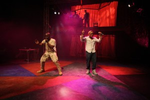 "Ronald L. Conner and Matthew Galbreath whip up the crowd at the Black Rep's ""Smash/Hit!"" Photo: Stewart Goldstein"