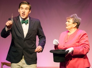 "Charlie Ingram as Jeffrey tries to get a ""perfect score"" on the etiquette finals as presented by Donna Weinsting's Mrs. Mannerly. Photo: John Lamb"
