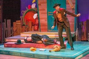 "Terry Meddows as Shlemiel and Antonio Rodriquez as Rascal in the New Jewish Theatre production of ""Shlemiel The First."""