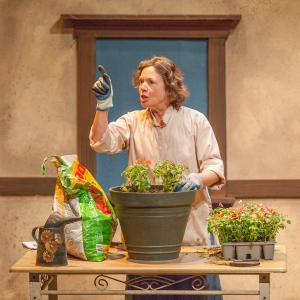 Elizabeth Ann Townsend as Rosemary, treats her plants as well as the local gossip with equal care. Photo: John Lamb