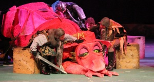 "The impressive moves of the dragon include a stint on the extended thrust during ""Shrek"" at the Muny."