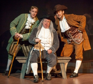 "Peter Meredith as Thomas Jefferson, Tom Murray as Ben Franklin and Martin Fox as John Adams discuss hatching ""The Egg"" that will bring America into the world. Photo: John Lamb"