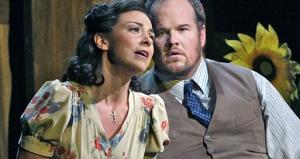 "Corrine Winters and Garrett Sorenson in Smetana's ""The Kiss"" at Opera Theatre St. Louis. Photo: Ken Howard"