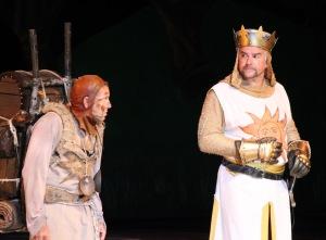 """David Hibbard and John O'Hurley as Patsy and King Arthur in """"Spamalot"""" at the Muny. Photo: Larry Pry"""