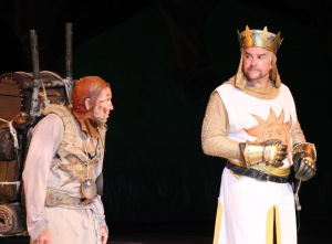 "David Hibbard and John O'Hurley as Patsy and King Arthur in ""Spamalot"" at the Muny. Photo: Larry Pry"