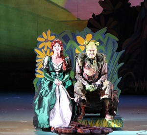 Julia Murney as Fiona and Stephen Wallem as Shrek at the Muny this week.