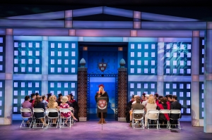 "Michelle London as Elle delivers her valedictorian speech at the close of ""Legally Blonde-The Musical"" at Stages-St. Louis."