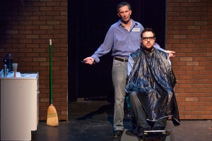 "David Wassilak gives advice to Tom Lehmann in ""Cut"" at the LaBute Theater Festival. Photo: John Lamb"