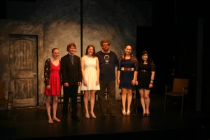 Neil LaBute surrounded by the High School Finalists on the first Saturday of the Festival. Photo: John Lamb