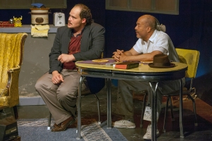 "Zachary Allen Farmer and Robert A. Mitchell discuss life and death during a moment in ""The Sunset Limited"" at Theatre Lab. Photo: John Lamb"