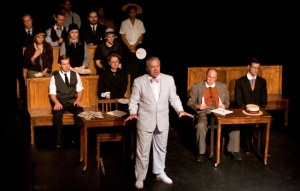 "Ken Haller runs rough-shod over Leo during the trial in ""Parade"" at R-S Theatrics. Photo: Michael Young"