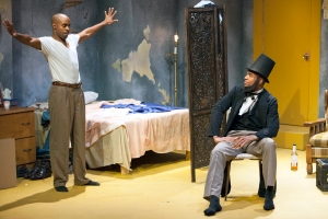 "Chauncy Thomas (as Booth) starts to confront his brother Lincoln (Reginald Pierre) in STLAS' ""Topdog/Underdog."" Photo: John Lamb"