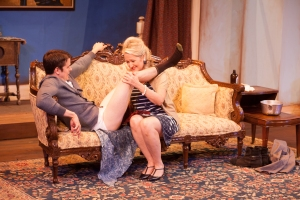 "Mr. Sloane (Paul Cereghino is tended to by Kath (Lavonne Byers) in HotCity's ""Entertaining Mr. Sloane."" Photo: John Lamb"