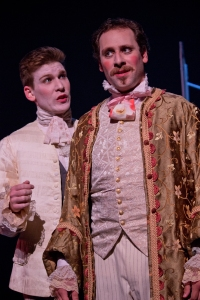 "Ben Watts as Dromio and Christopher LaBanca as Antipholus in St. Louis Shakespeare's ""The Comedy of Errors."""