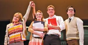 "Jenna Russell, Clare Foster, Mark Umbers and Damian Humbley in ""Merrily We Roll Along."""