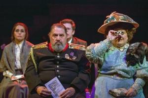 "Alina Volobuyeva, Jason Grubbe, Aaron Orion Baker and Teresa Doggett await ""The Sneeze"" in ""The Good Doctor"" at New Jewish Theatre. Photo: John Lamb"