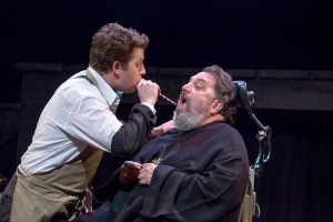 "Aaron Orion Baker attempts to diagnose patient Jason Grubbe in Neil Simon's ""The Good Doctor"" at New Jewish Theatre. Photo: John Lamb"