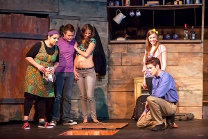 """Anna Skidis, C.E. Fifer, Angela Bubash, Eileen Engel and Paul Cereghino contemplate what's in the basement during """"Evil Dead-The Musical"""" at Stray Dog. Photo: John Lamb"""