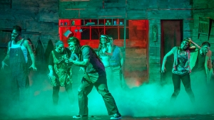 """The cast of Candarian Demons zombie-walk through """"Evil Dead-The Musical"""" at Stray Dog Theatre. Photo: John Lamb"""