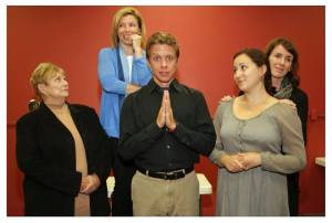 """Donna Weinsting, Michelle Hand, Ben Nordstrom, Julia Zasso and Ann Marie Mohr in OnSite's """"The Trivia Job."""""""